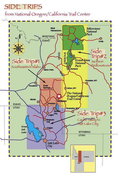 Map of three side tours in and around The National Oregon/California Trail Center and Montpelier, Idaho.