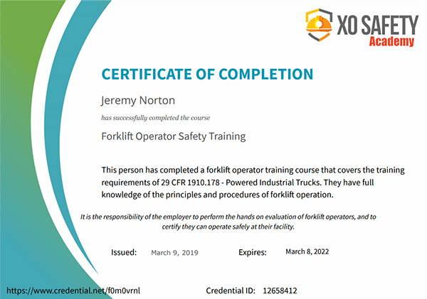 Online Forklift Training Completion Certificate