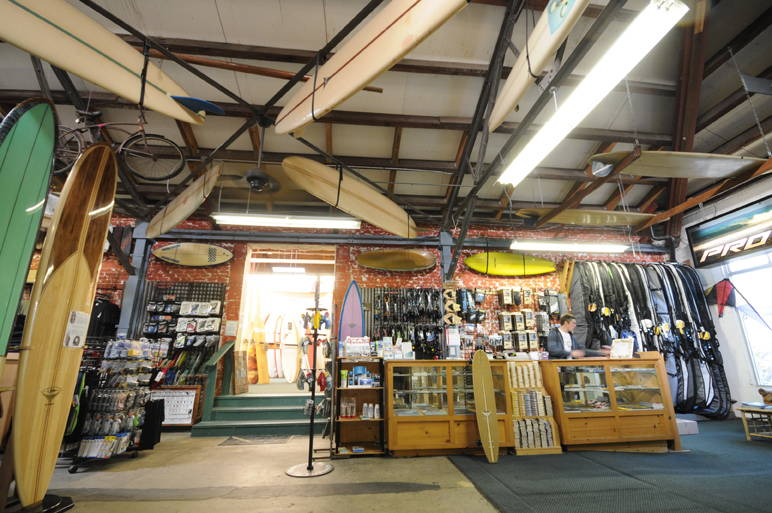 Photograph of surfboard area in Beach House shop