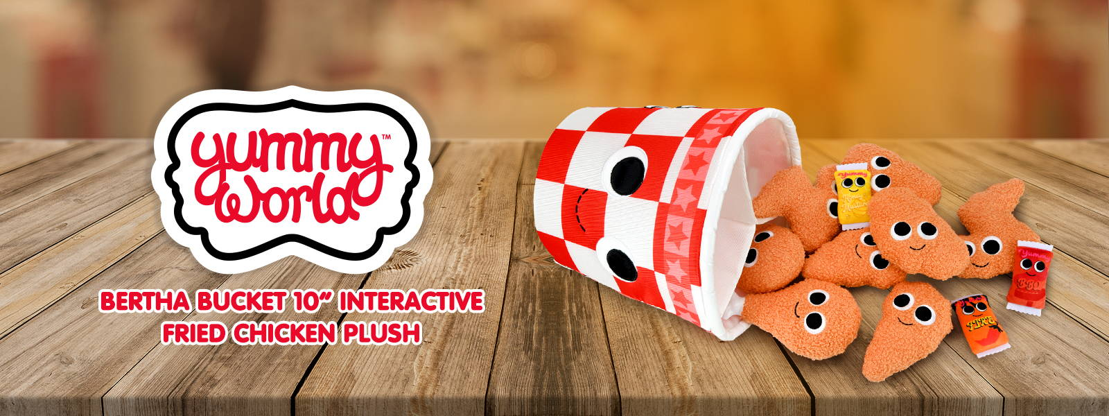 Yummy World Bertha Bucket of Fried Chicken Interactive Plush