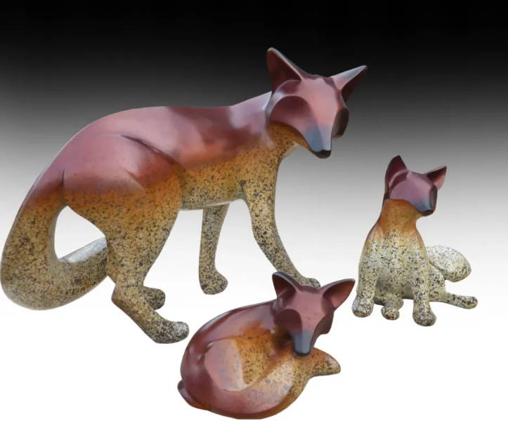 Bronze Scupture. Fox Sculpture. Fox Art. Michael Tatom. Bronze. Sorrel Sky Gallery. Santa Fe Art Gallery.