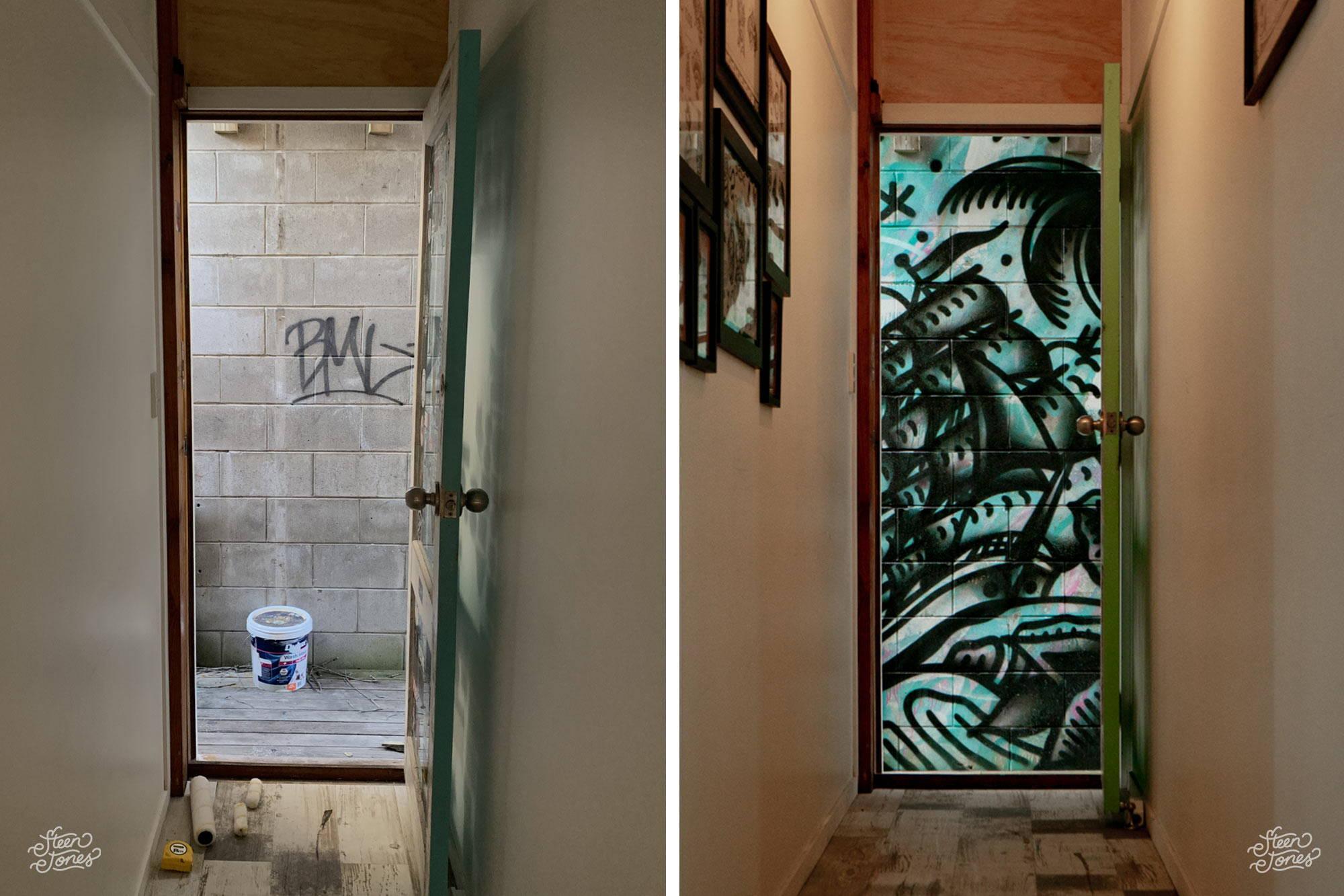 Steen Jones Tattoo Street Artist Australia Three Dice Tattoo Shop Alleyway Mural New Zealand