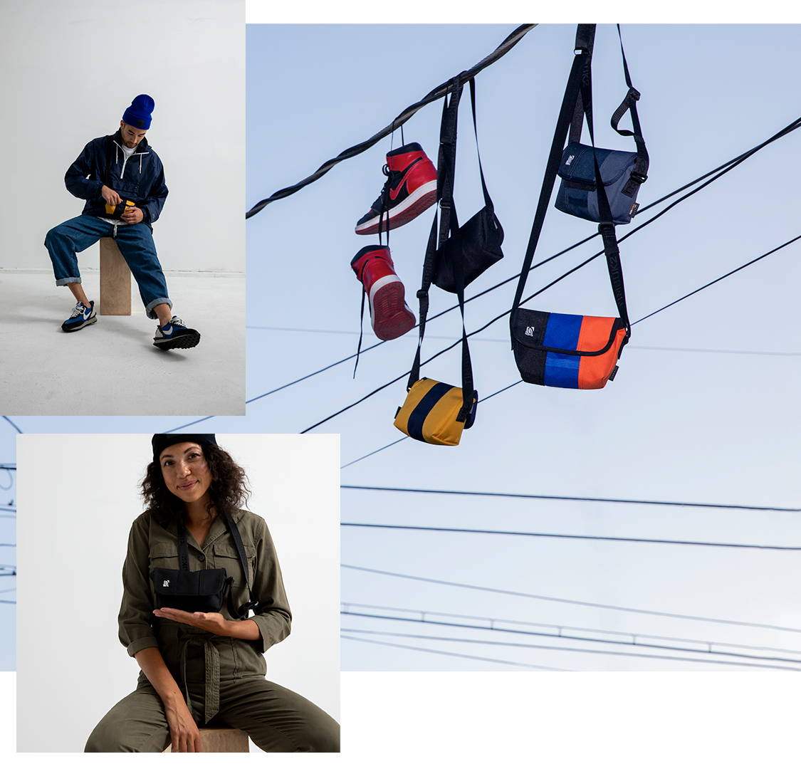 Image collage of a couple models holding the Micro Classic Messenger Bags in one hand. There's also an image of the Micro Messenger hanging from telephone wires with some sneakers hanging as well.