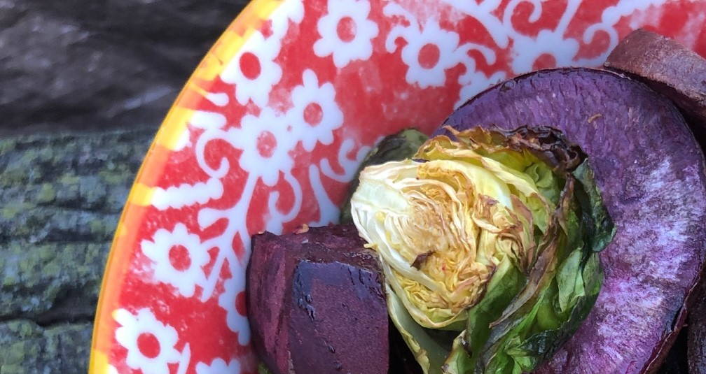 purple sweet potato and Brussels sprouts medley