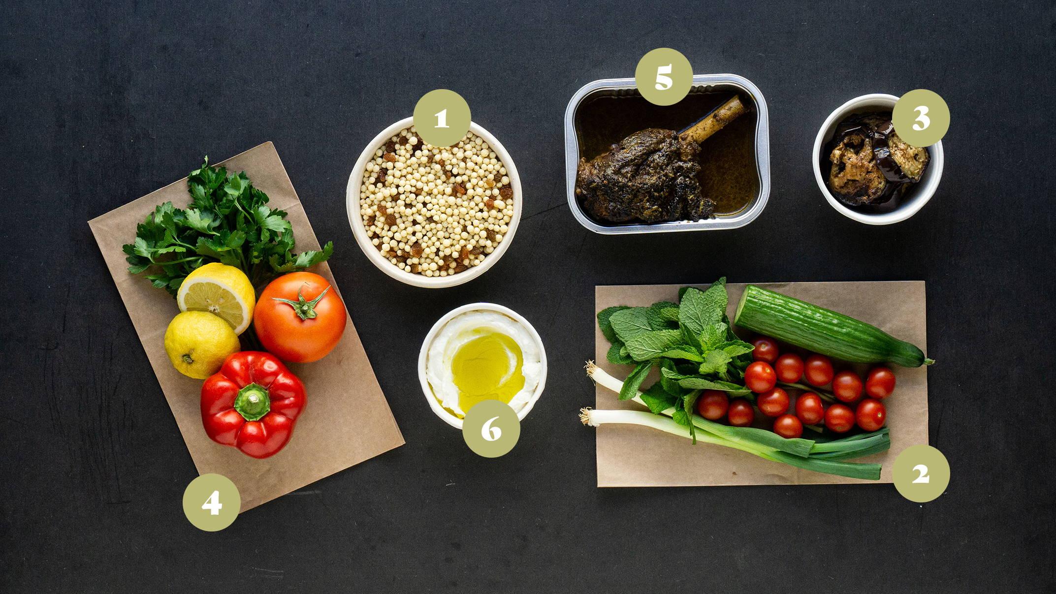 Opskrifter og vejledning til Krydret lammekølle med perle cous cous salat og labne
