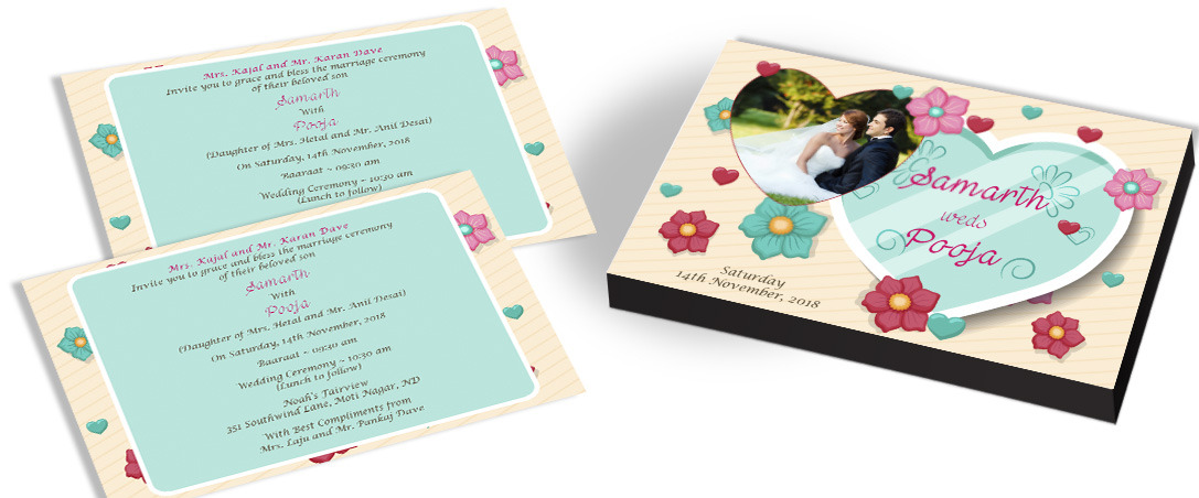 Photo Invitation - Heart theme Wedding