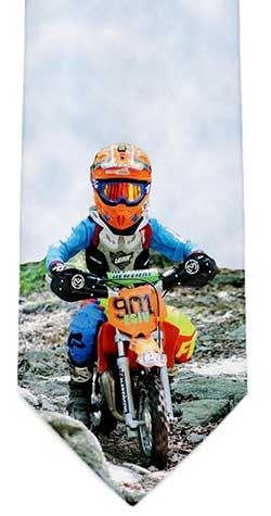Photo tie of a child on motorbike