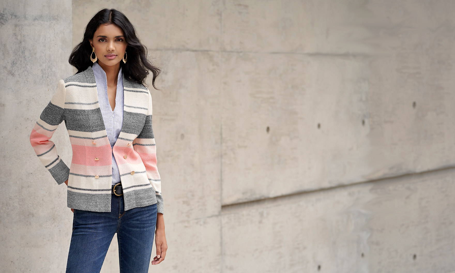 Soft Stripe Knit Jacket Paired Casually with Jeans