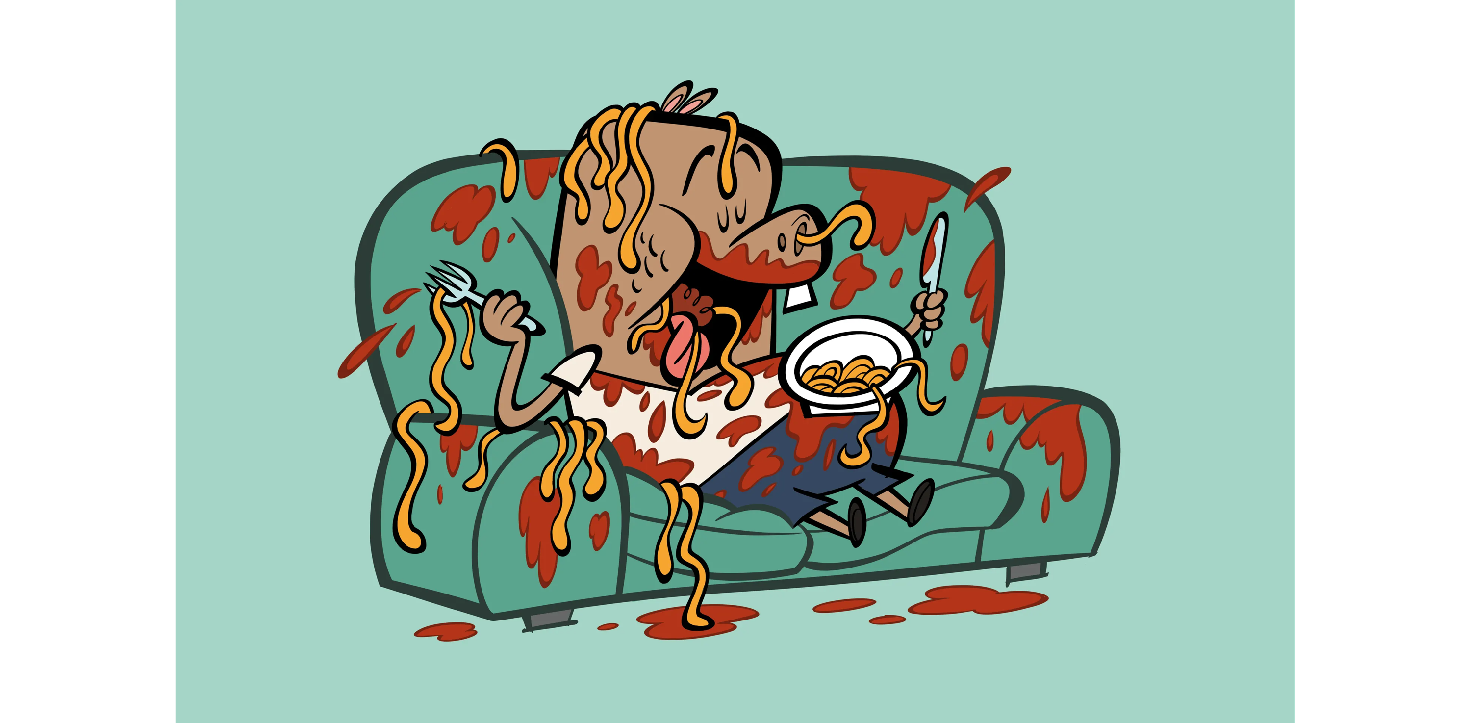 illustrated character eating spaghetti