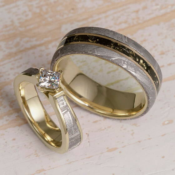 Yellow gold His and Hers Rings