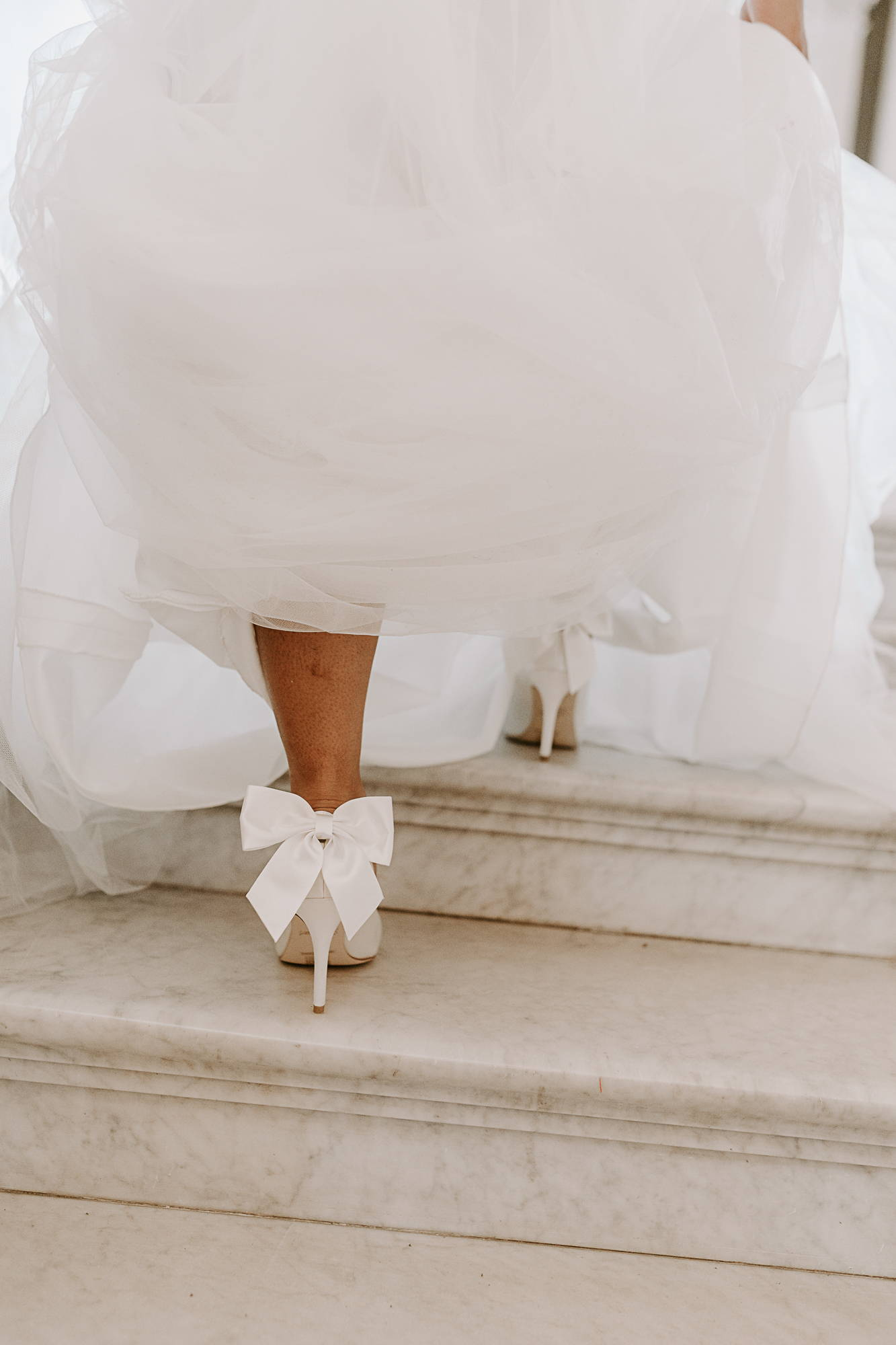 White Bridal Shoes with Removeable Bow