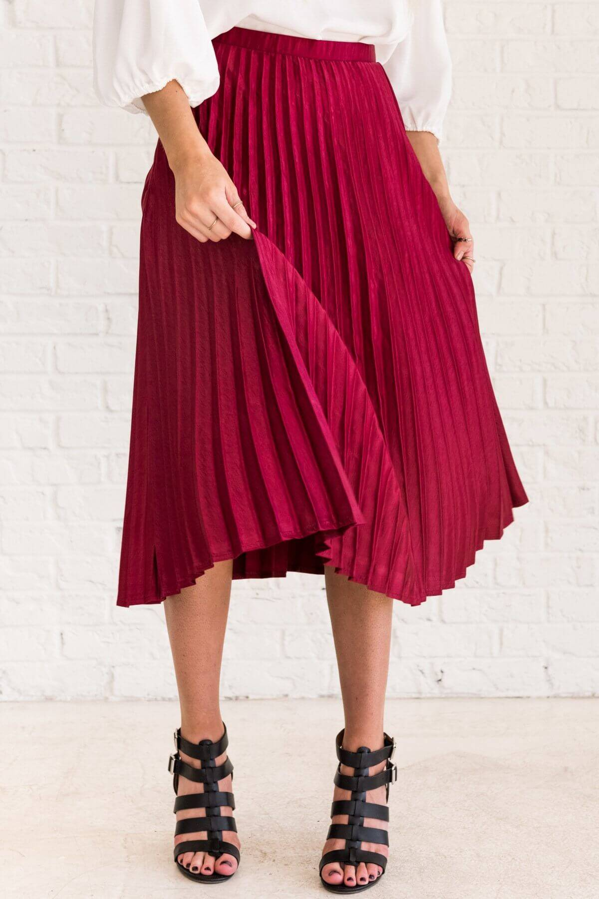 Burgundy Red Cute Pleated Midi Skirts for Women