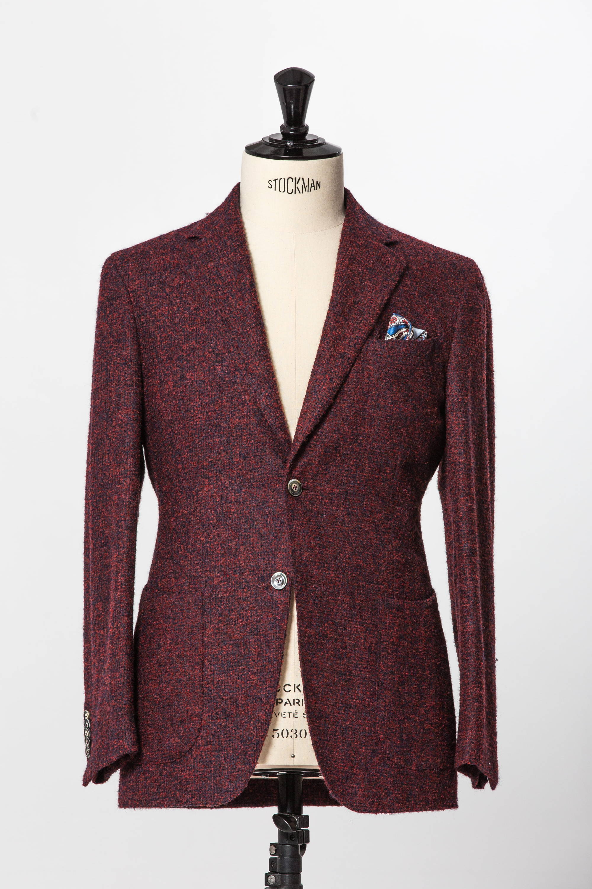 Red and navy mix unstructured summer suit jacket with paisley pocket square