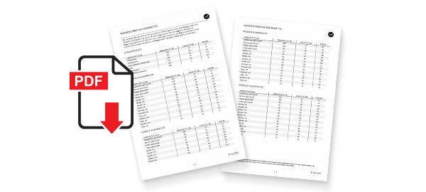 PDF-Liste mit veganen Lebensmitteln und ausgewählten Nährstoffen
