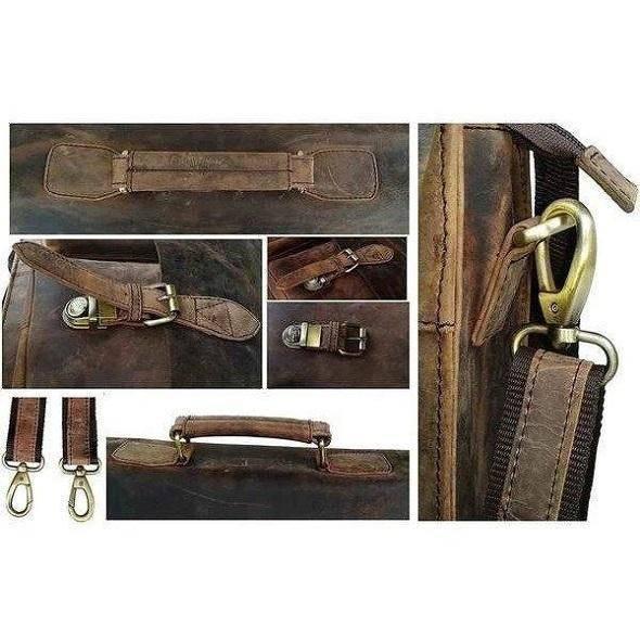 Buffalo Leather Messenger Bag For Men Distressed Full Grain Laptop Bag