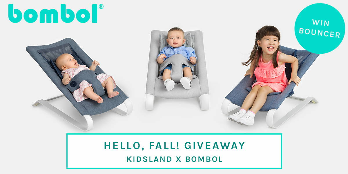 3 babies in Bombol Bamboo 3D knit baby bouncer, shop Kidsland