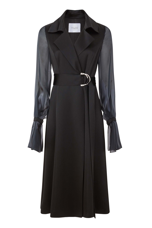 Galvan London Organza Puffy Sleeves Satin Black Trench Coat