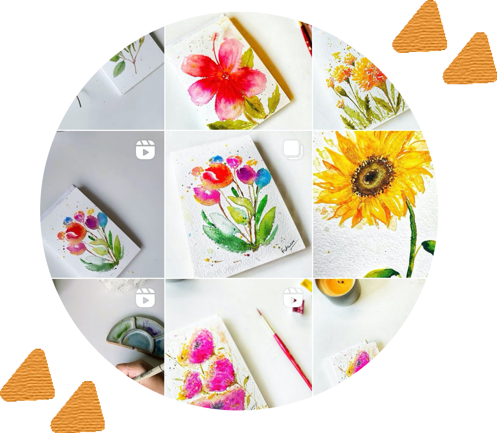 circle containing 9 grid screenshot of Rady Creations instagram, depicting floral watercolor paintings in each square of the grid, surrounded by yellow arrows for design