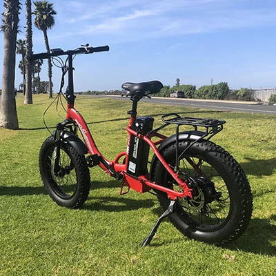 The Ram SS Folding Electric Bike can cruise the streets as well as off-road terrain like grassy fields.