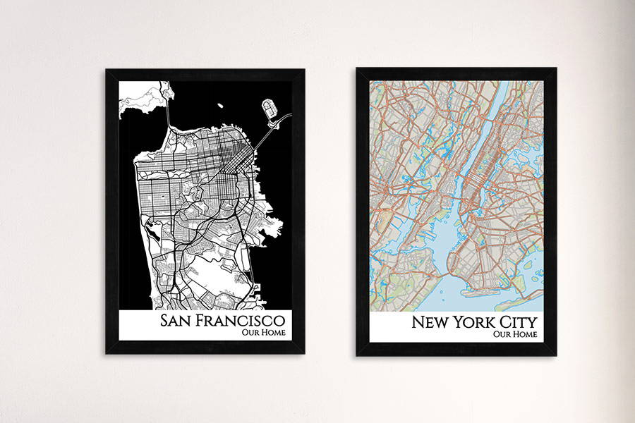 city map framed
