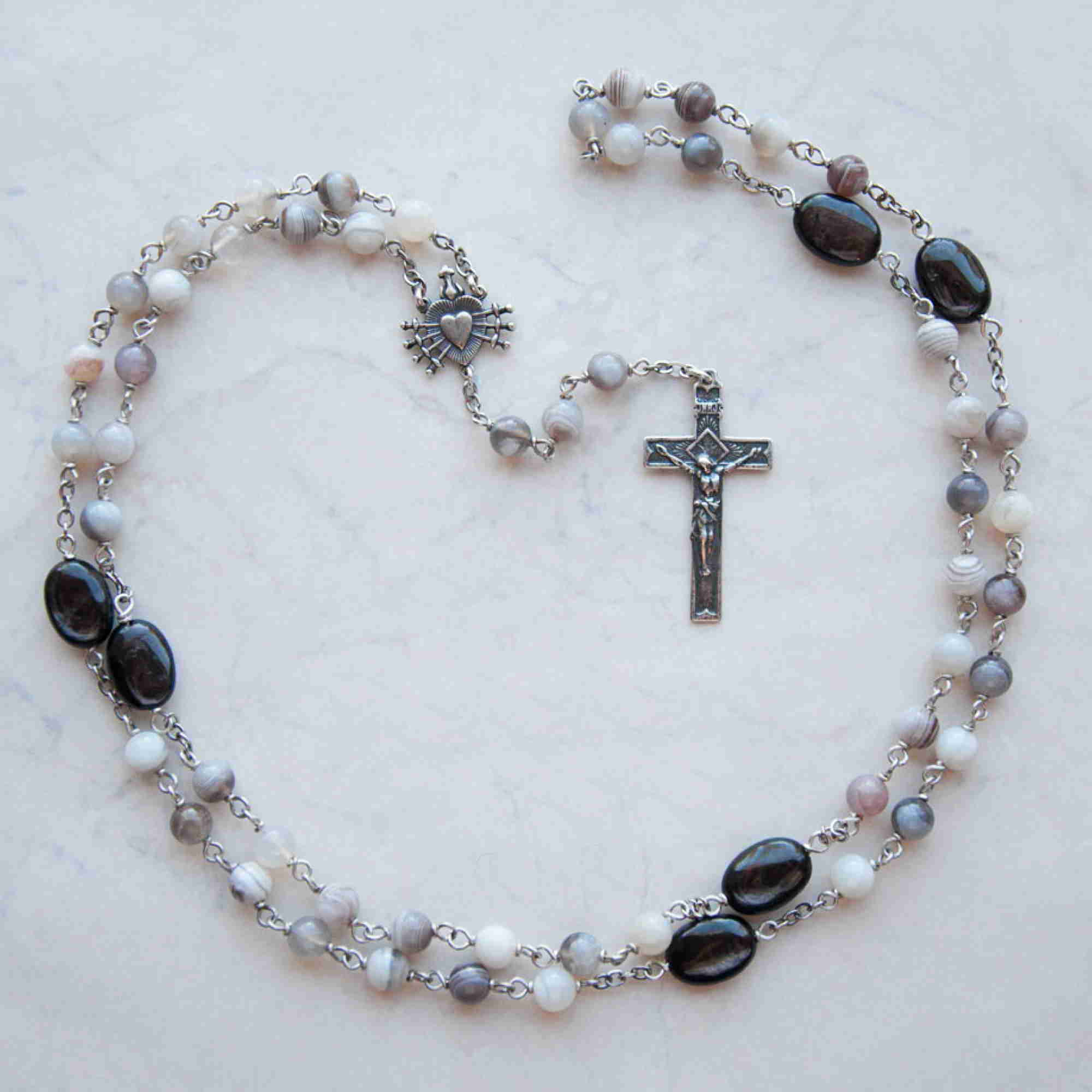 Sterling handmade rosary in Hypersthene and Botswana Agate by Jennifer Sinclair, owner of Miracoli Rosaries