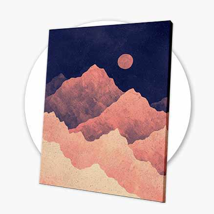 Red Night Mountainscape Canvas Print