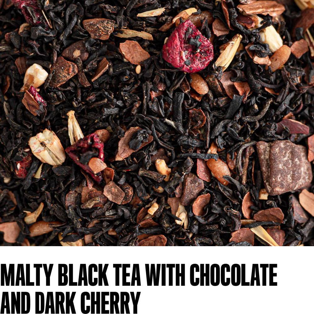 malty black tea with chocolate and dark cherry