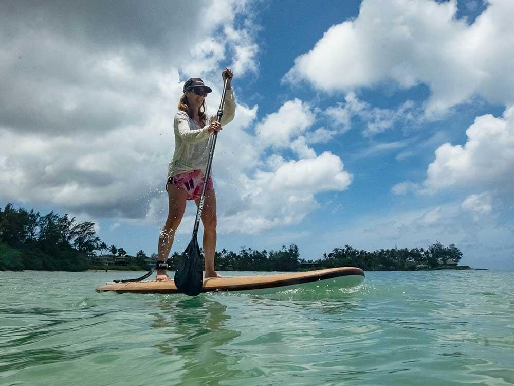 recreational paddleboarding on the pau hana big ez hawaiian vft