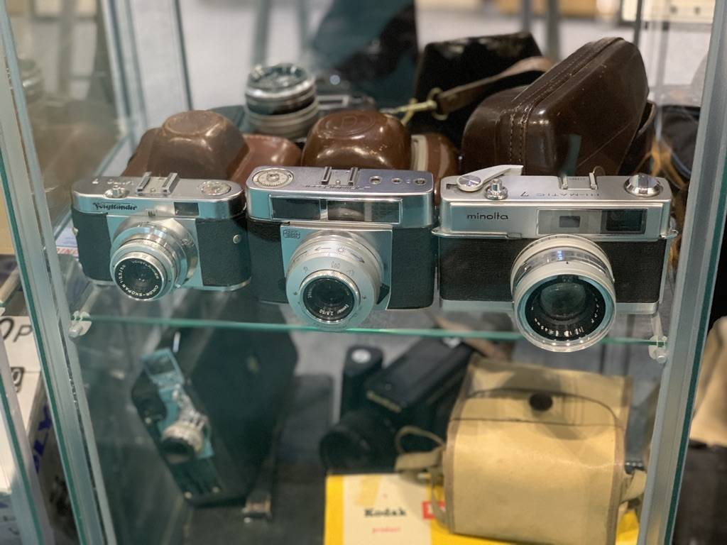 Some of the film cameras at The Disabled Photographer's Stand