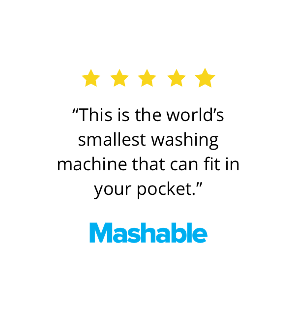 Mashable says that ultrasonic soak is the world's smallest washing machine that can easily take place in your pocket too