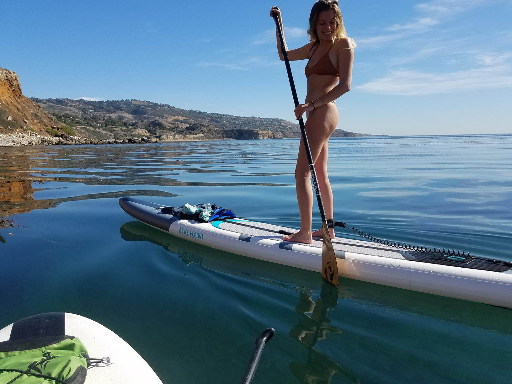 Paddling the Cadence paddle board in rancho Palos Verdes
