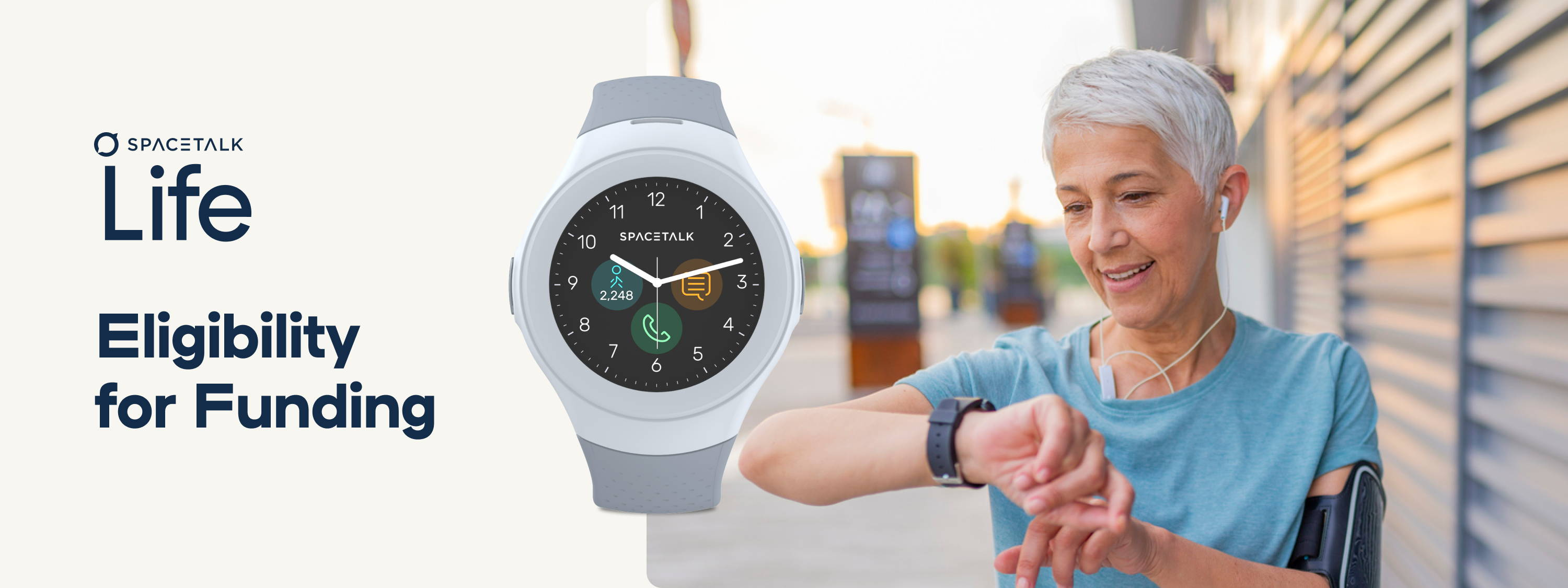 A banner image showing the watch face of the Spacetalk Life recreating oanalogue clock flace and showing a senior person checking their watch whilst exercising.