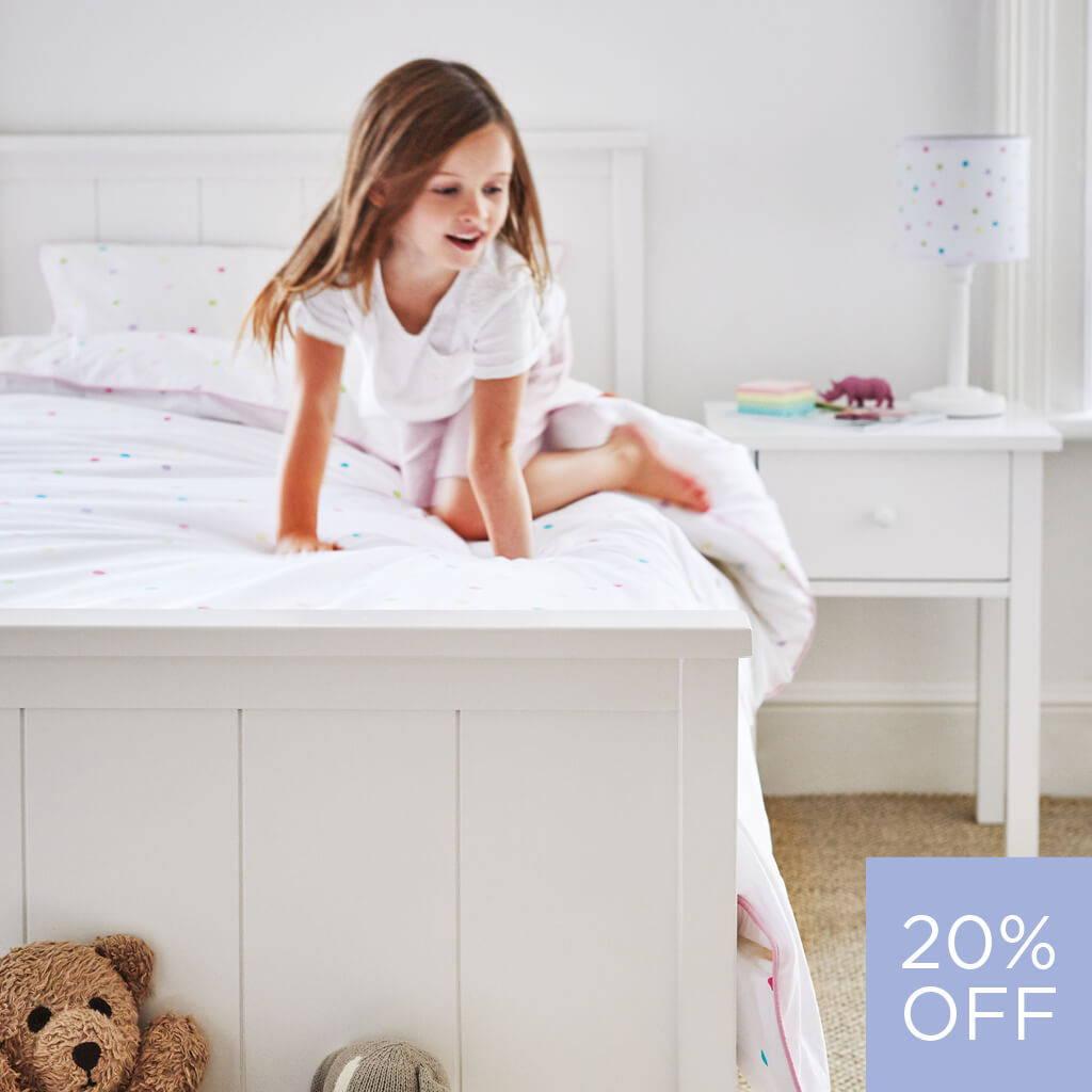 confetti spot and white themed children's bedroom
