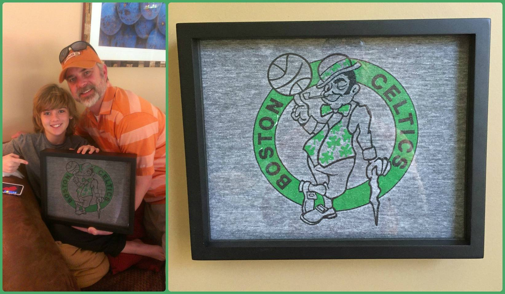 Shart.com Happy Customer with his son and his gift of a framed Boston Celtics Tee Shirt