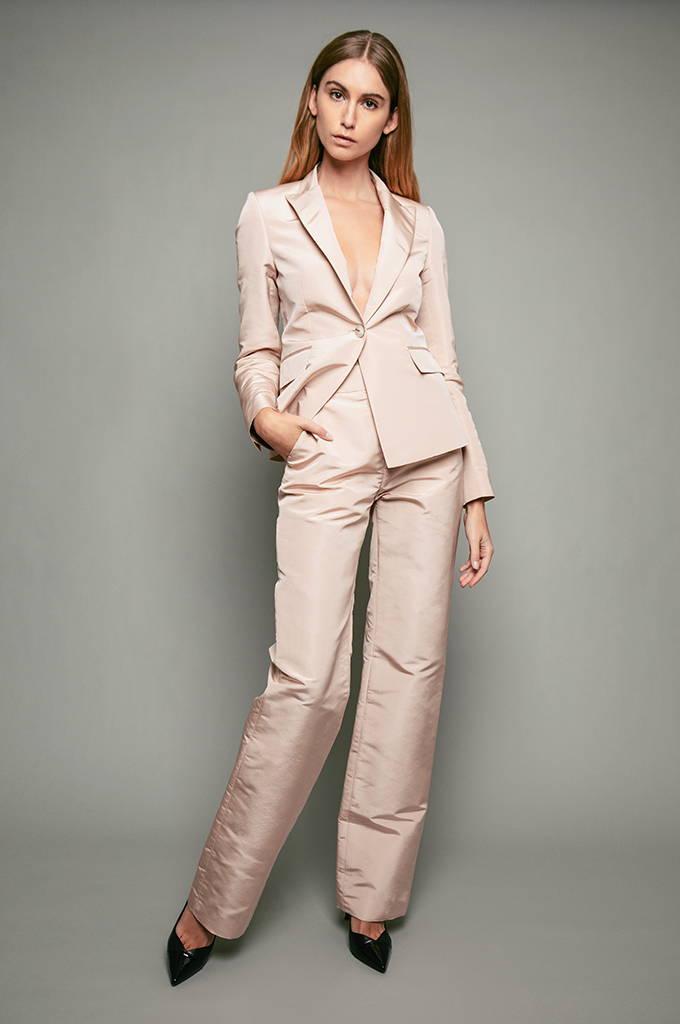 PENDA • Luxury Designer Fashion  • Faille seta silk Jacket & Pants • Brussels campaign
