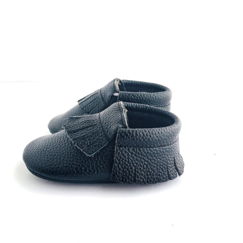 Jett Black colour soft sole shoes with fringe sole view