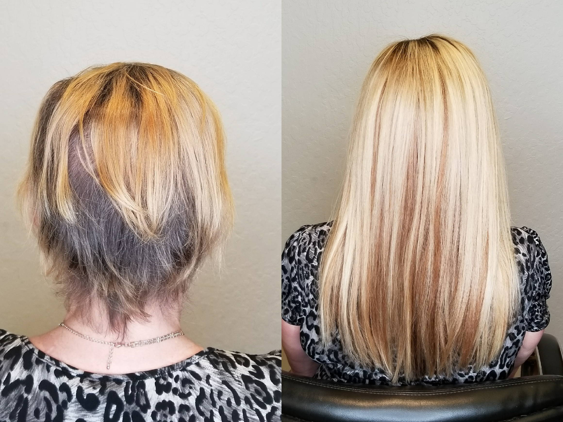 before and after hair replacement procedure with custom hair piece blonde woman