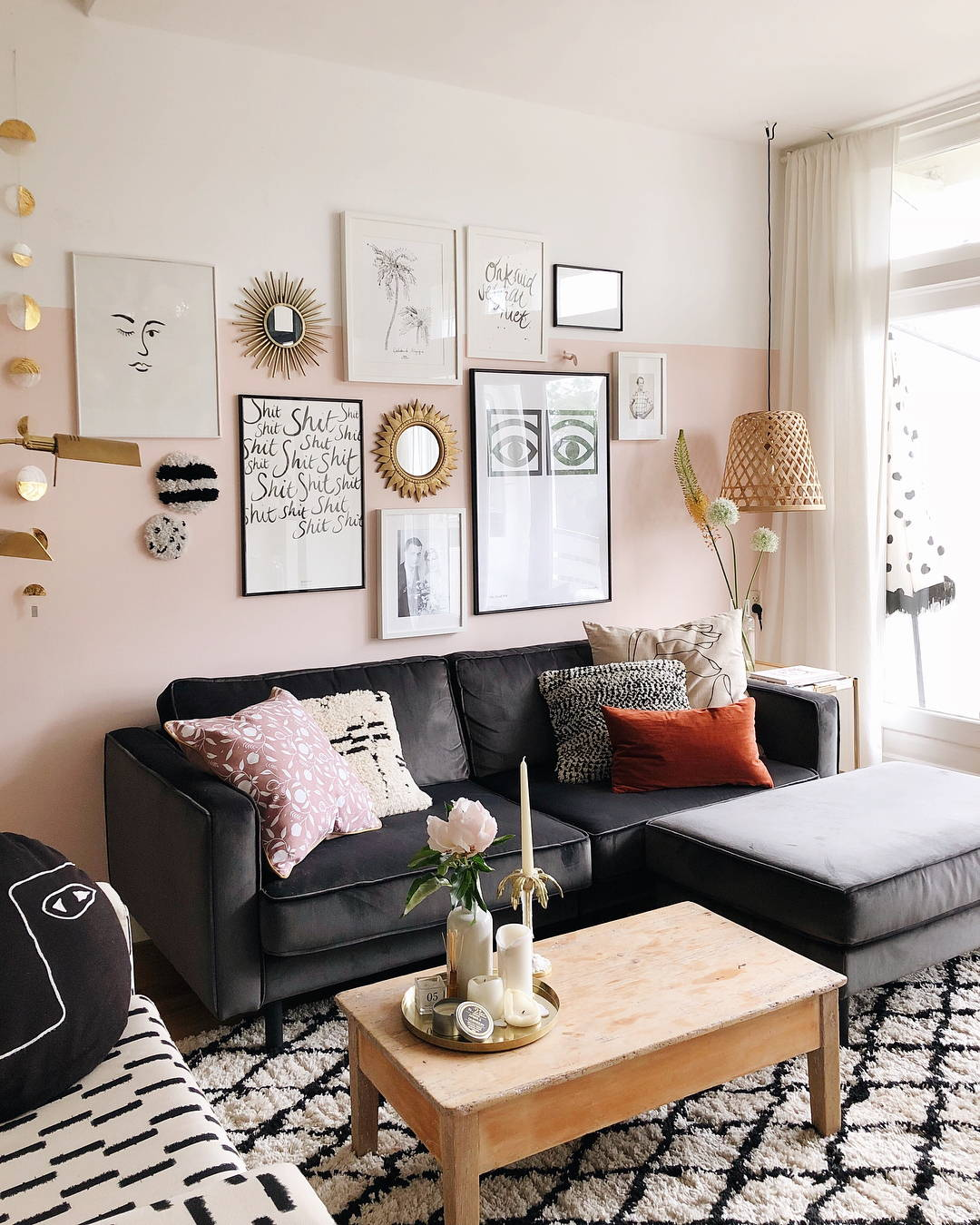 pink and white gallery wall