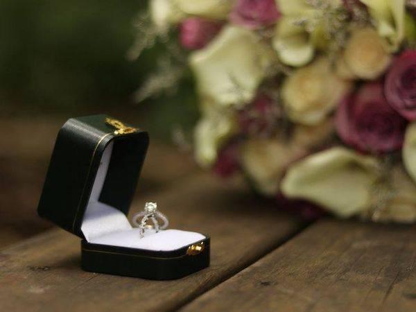 diamond engagement ring in ring box