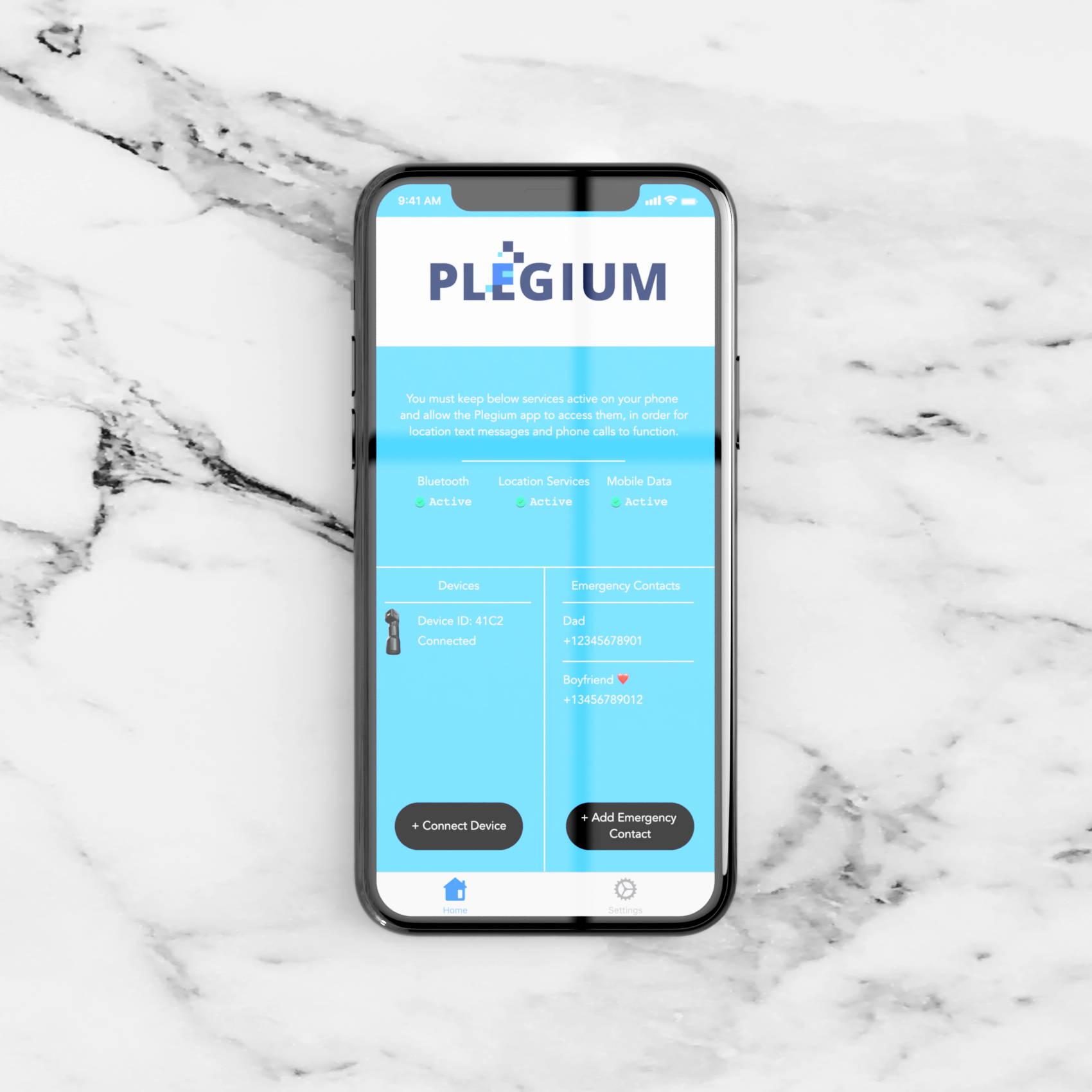 Iphone med Plegium-appen öppen