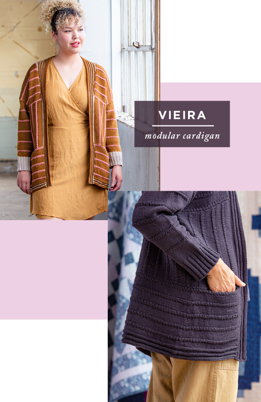 Two images showing front and side/pocket views of Vieira: modular cardigan