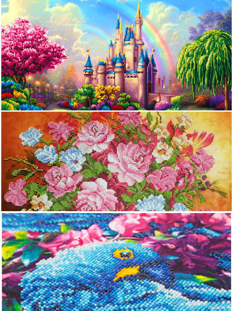 a colorful variety of completed diamond paintings