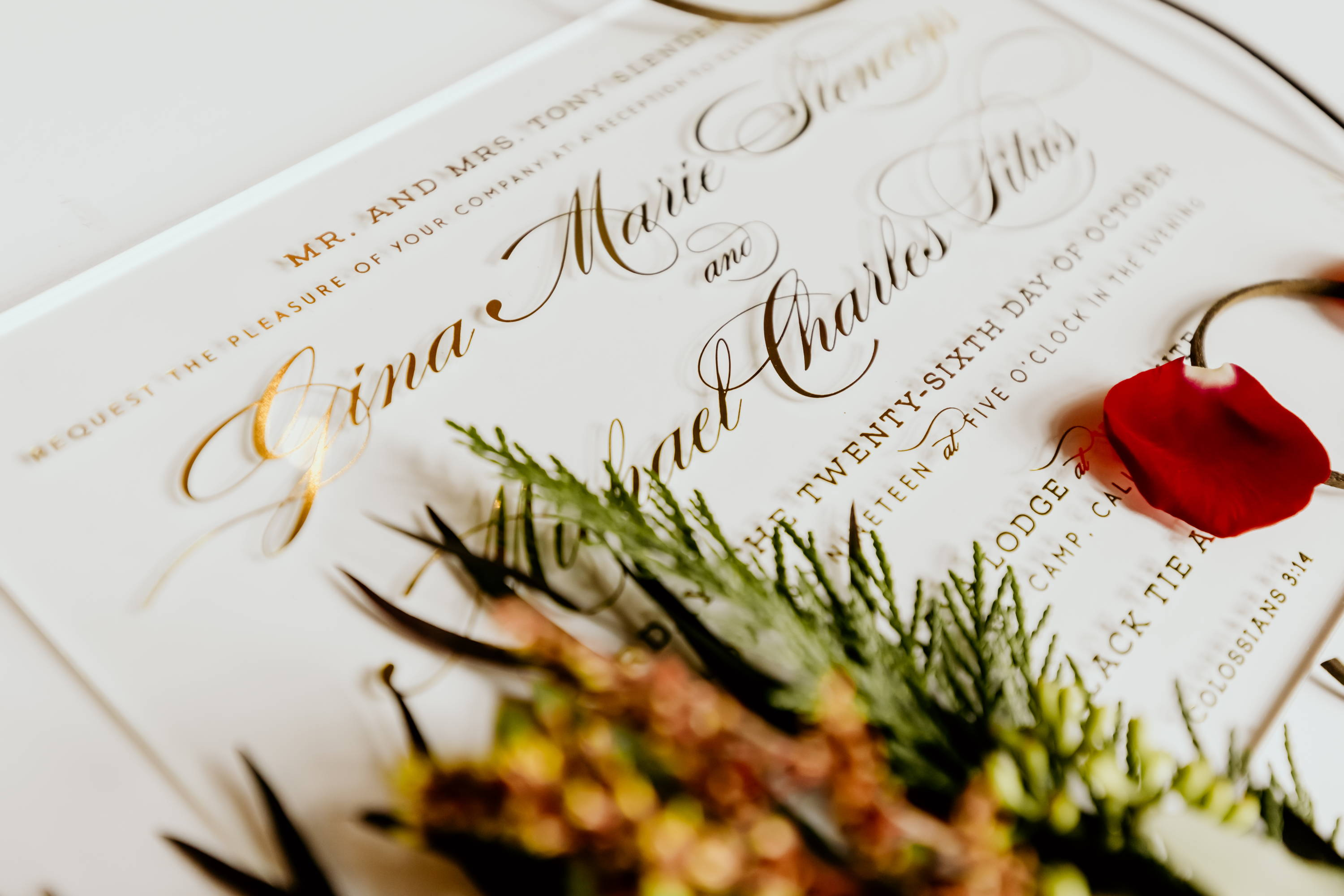 Acrylic and Gold Script Wedding Invitation