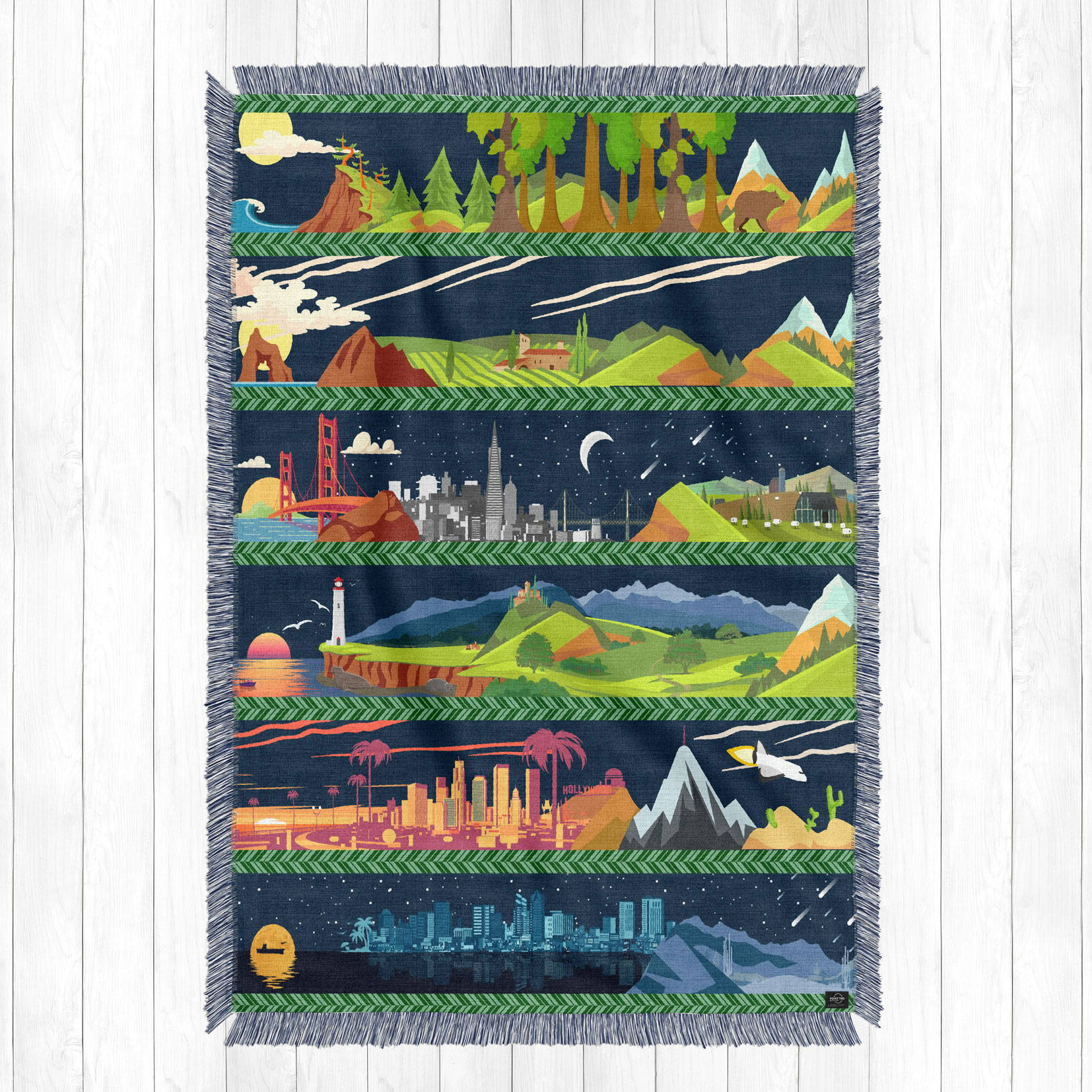 illustrated artwork of california state from north to south as a cotton woven blanket