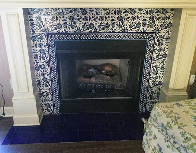 Blue and white ceramic tiles and borders