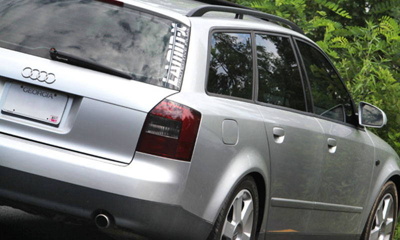 Audi with Gunsmoke Lamin-x tail light film covers