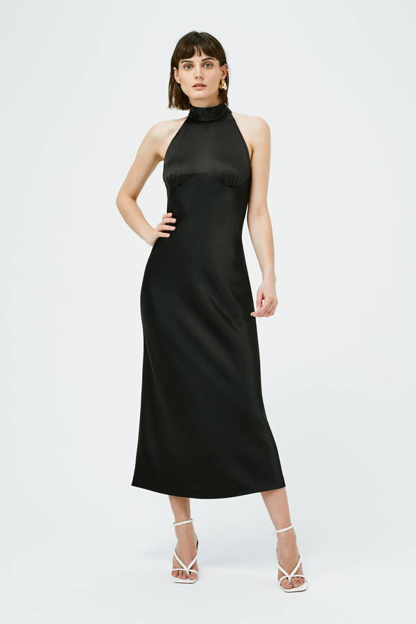 Galvan London High Neck Satin Slip Black Dress