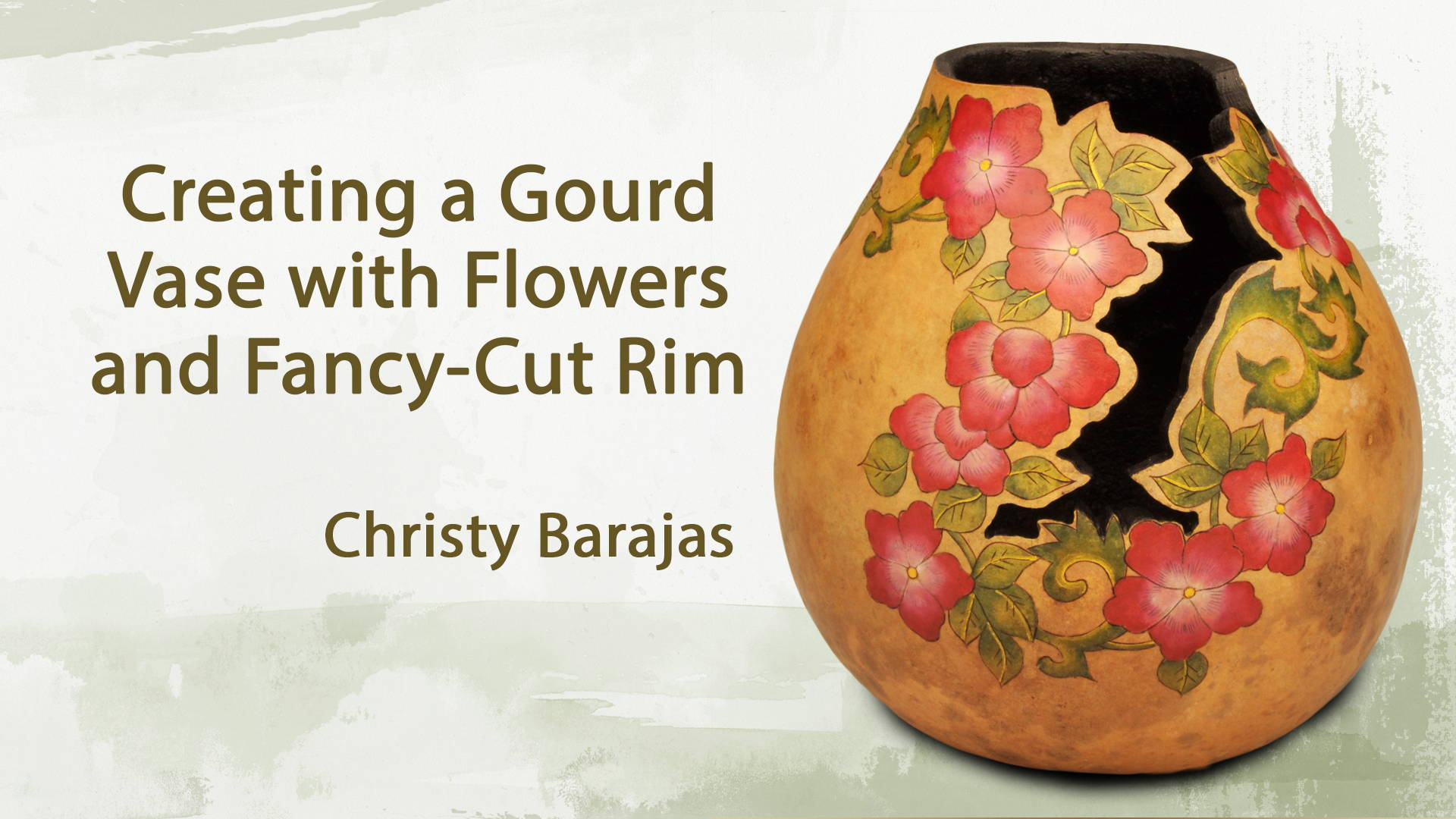 Creating a Gourd Vase with Flowers and Fancy-Cut Rim Video