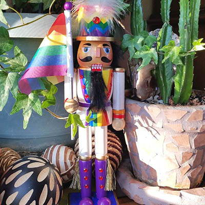 Decorate with our Pride Rainbow Nutcracker
