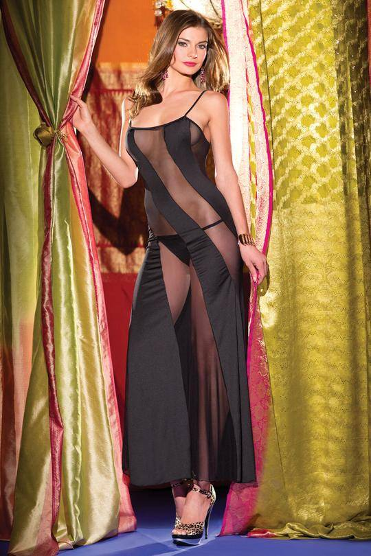 Be wicked sheer and satin stripped scoop long gown with spaghetti straps One size